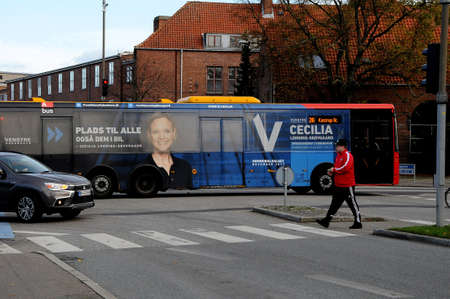 Copenhagen Denmark - 25.October  2017.   Ms.Cecilia Lonning-Skovgaard from danish liberal party candiate for councilor candiate  billboard on danish public transport.