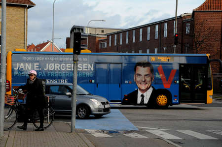 KastrupCopenhagen Denmark - 26.October  2017. _Jan E.Jorgensen on bllboard council election candiate from liberal party. Editöryel