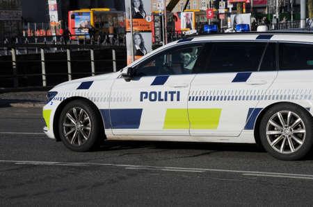 Copenhagen Denmark - 07 November  2017.    Danish police car and they drive German VW hehicle .