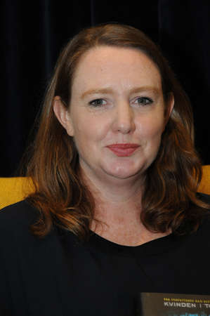 Copenhagen Denmark - 12.November  2017.  Paula Hawkins born in Zimbabwe british author  with her book Into the Water  trandlated in danish language (det dybe van) Poula Hawkins interview by  Adrian Hughes  at publisher Gyldendal at Bok Fair 2017 in Bell