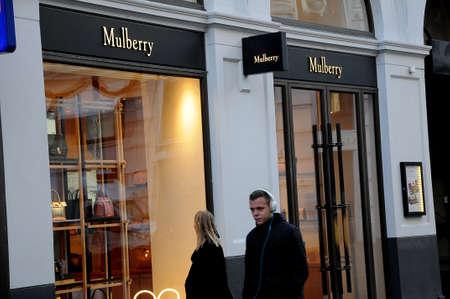 Copenhagen Denmark - 11.November  2017.Mulbery fshion chain store on stroeget in danish capital.