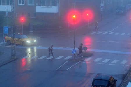 Copenhagen Denmark - 15.November  2017.   Weather in Copenhagen early morning fog in danish capital Copenhagen.