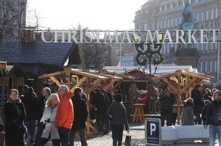 Copenhagen Denmark - 17.November  2017.   Visitors at Christmas market on hojbroplads in danish capital.