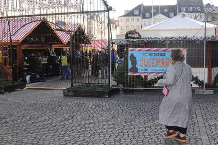Copenhagen Denmark - 17.November  2017.    H.C.Andersen (Hans Christian Andersen)julemarked on nytorv in danish capital.