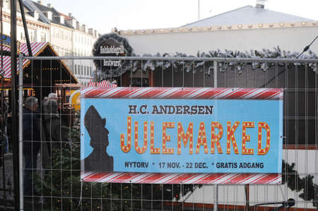 Copenhagen Denmark - 17.November  2017.    H.C.Andersen (Hans Christian Andersen)julemarked on nytorv in danish capital.