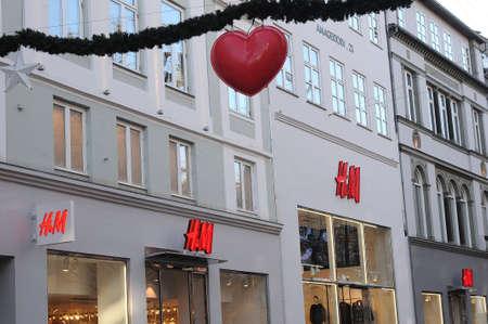 Copenhagen Denmark - 17.November  2017.  Swedish chain H&M  store in stroeget in danish capital. Editorial
