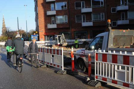 Copenhagen Denmark - 17.November  2017. Footpath and bike lane construction work on amagerbgade on Amager island. Editorial