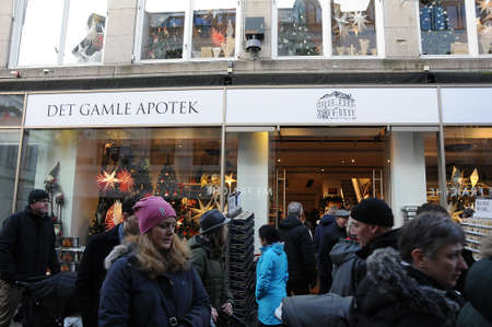Copenhagen Denmark - 25,November  2017. Visitors and  christma decorations buyer in det gamle apotek shop on stroeget   in danish capital.