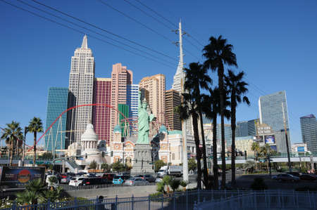 LAS VEGAS  NEVADAUSA 15 December  2017.   New york casino and statue of liberty infront casino in Las Vegas ,Nevada.
