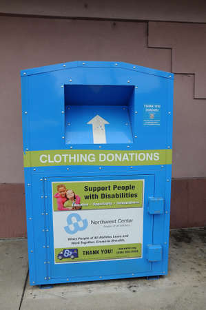 LEWISTON/IDAHO/USA 20 December  2017. Clothing and shoes donations container, support people with disableity.