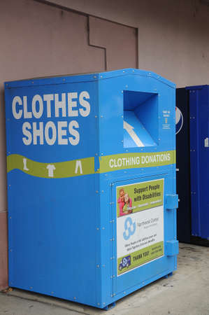 LEWISTONIDAHOUSA 20 December  2017. Clothing and shoes donations container, support people with disableity.
