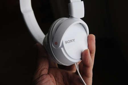 LEWISTONIDAHOUSA 21 December  2017. Sony headphones in white colour .