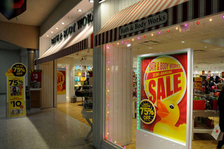 LEWISTONIDAHOUSA 26.December  2017.  After christmas clearance  75% sale at bath and body works store. Editorial