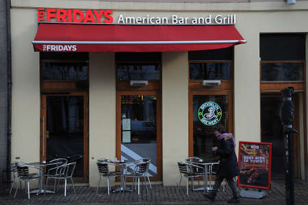 Copenhagen Denmark - 16 January 2018  .Fridays American bar and grill restaurant in danish capital at hojbroplads . Editorial