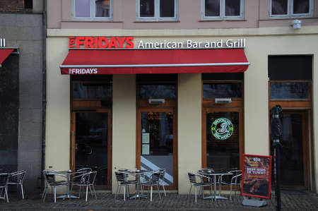 Copenhagen Denmark - 16 January 2018_ .Fridays American bar and grill restaurant in danish capital at hojbroplads .