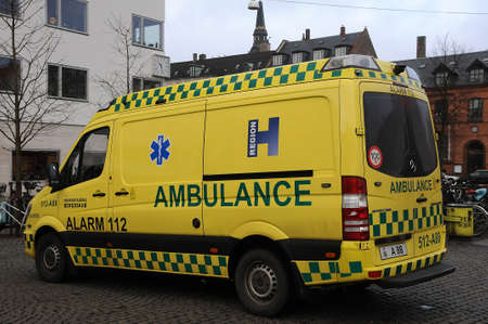 Copenhagen /Denmark - 20. January 2018_ .Danish public medical amublance transportation system.