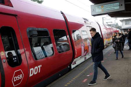 HerlevCopenhagen Denmark - 21 January 2018_Danishn eletcric tran part of danish public transports system Editorial