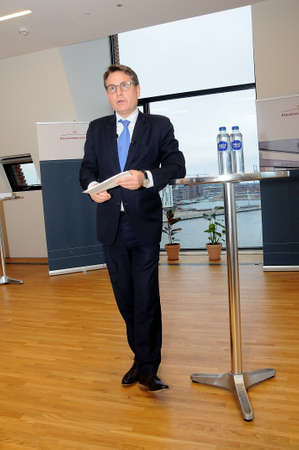 Copenhagen Denmark - 22. January 2018_ .Brian Mikkelsen minister for trade and business holds press conference adn presents his Governments vision of Maritime Denmark  blue Denmark   Denmark is number 5th in world as maritime nation.       (Photo.Fran