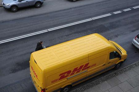 Copenhagen Denmark - 30.January 2018_ .       (Photo.Francis Joseph Dean  Deanpictures. DHL delivery van park on Kastruoplundgade . Editorial
