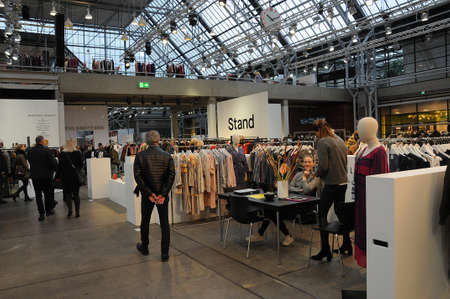 Copenhagen /Denmark - 01. Febuary 2018_General view of shoppers and public at C.I.F.F.Copenhagen Interntional Fashion Fair 2018 in Bella Center Copenhagen Denmark .