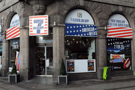 Copenhagen /Denmark - 04. February.2018_ 7ELEVEN cahian celebrates with American weeks with chaing colour in logo 7Eleven with american stars and strips american flag colour.