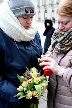 Copenhagen /Denmark - 15. February.2018_ People puring to pay respect to prince Henrikwith flowers and messages and candles from all over part of danish scoeity and culture at Amamilenborg Palace  and his castcast will  come from Fredensborg Palace to Ama