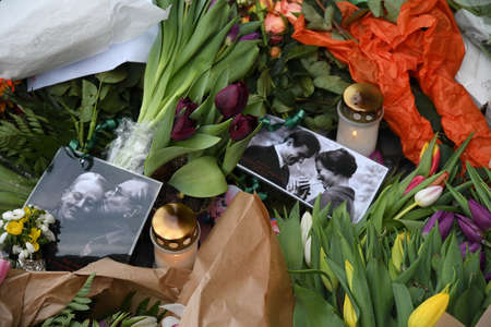 Copenhagen /Denmark / 18 February.2018_Danes are still paying respect  with flowers  and messages and  photographs of queen margrethe and prince henrik at Aamalienborg Palace . Editorial