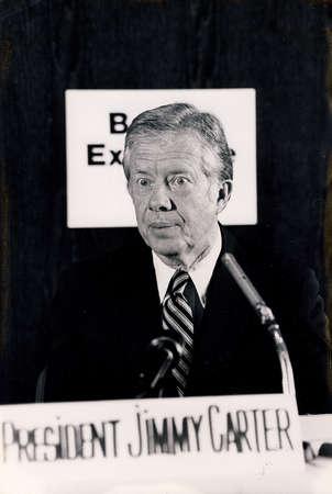 Copenhagen  Denmark, 10 May 1982-President Jummy Carter visite Denmark and holds press conference.       . Redactioneel