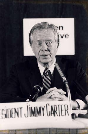 Copenhagen  Denmark, 10 May 1982-President Jummy Carter visite Denmark and holds press conference.       . 新聞圖片