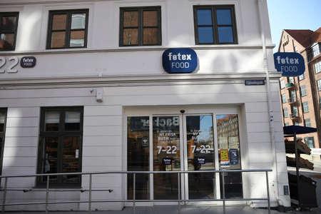 Copenhagen/Denmark 11. April 2018_ Fotex food store in Copenhagen Denmark, from 2 am till 10 pm opening hours.. Stockfoto - 114716861