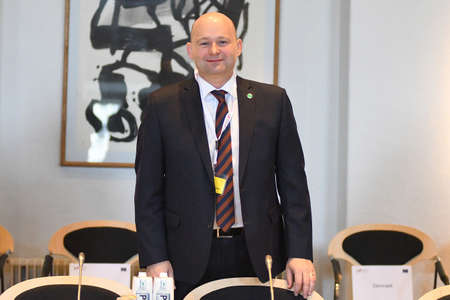 CopenhagenDenmark 12 April 2018_Danish minister for justice Soren Pepe Poulsen Continued reform of the European Human rights conventions systen confefence of ministers in Copenhagen 12-13 apreil 2018 ,among the ministers are Mr.David Gauke minister of un