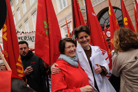Copenhagen/Denmark 15 April 2018_ Danish all trade union stange rally againt state, in support for better agreement with state, trade unions and state have not come up any labour agreement which wil benefit both states and trae union workers. meeting is s