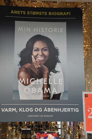 CopenhagenDenmark 02. December  2018.  Former first lady Michelle Obama  memoir  Living History  transpation in danishb lnague is display for sale in Copenhaen department stor Maga su nord Copenhagen Denmark