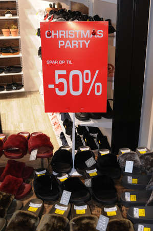 Copenhagen/Denmark. 20..December 2018. 50% sale in the name of Christmas party sale in shoe chain store in danish capital Copenhagen Denmark.
