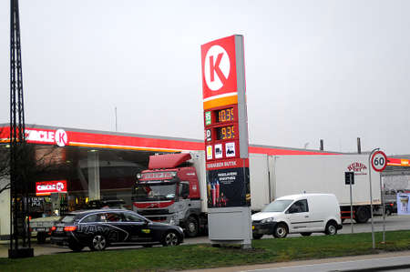 Copenhagen/Denmark. 20..December 2018._Gasoline prize 95 10.39 danish krona and deisel 9.39 danish krona at K gasoline staition in Copenhagen. .