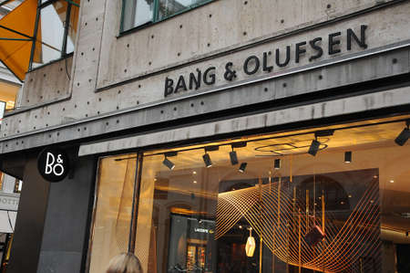CopenhagenDenmark. 21..December 2018. .Danish name brand Bang & Olufsen Readio nad TV and computer loudspeaker shtore on stroeget in Copenhagen denmark,