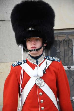 Copenhagen/Denmark. 04January 2019._H.M.The Queen 's life royal guards on guards for queen rrival in danish copanhagen Denmark.