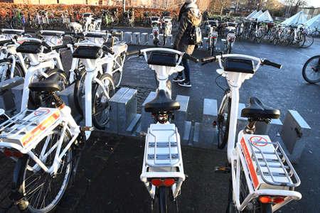 Copenhagen/Denmark. 05January 2019._Electric bikes yo rent online via credit cards bike stand at metro electric tain in Copenhagen Denmark.