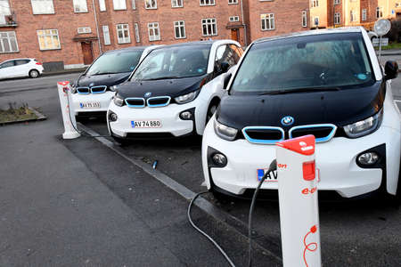 Copenhagen/Denmark. 05January 2019._German BMW electric cars at charge point in danish capital Copenhagen  Denmark.