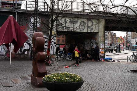 Copenhagen/Denmark. 11.January 2019._ Daily life and grafiti arund Norrbro train station in danish capital  Copenhagen Denmark. Stockfoto - 116579893