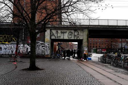 CopenhagenDenmark. 11.January 2019._ Daily life and grafiti arund Norrbro train station in danish capital  Copenhagen Denmark. Redactioneel