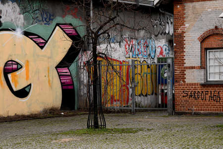 Copenhagen/Denmark. 11.January 2019._ Daily life and grafiti arund Norrbro train station in danish capital  Copenhagen Denmark. Stockfoto - 116579898