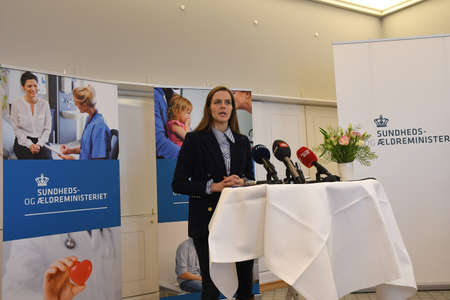 Copenhagen/Denmark. 18.January 2019._ Ms.Ellen Trane Norby minister for senior and health holds press coneferenc about Denmark's Health sector reforms  minister Mo hands and happy working environment among health sector workers said minister minister at P