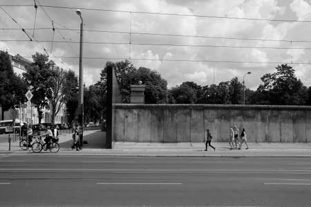 BERLINGERMANYDEUTSCHLAND 11.jULY 2018_ .Visitors at Bernauer Strasse most famous sport in Berin during Berlin all 1961 visitor at Berlin wall in Berlin (black adn white work).