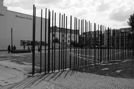 BERLIN/GERMANY/DEUTSCHLAND/ 11.jULY 2018_ .Visitors at Bernauer Strasse most famous sport in Berin during Berlin all 1961 visitor at Berlin wall in Berlin (black adn white work).