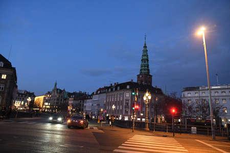 CopenhagenDenmark. 20.January 2019._  shoppers on sunday evening  on Financisl district  Amager torv strieget and strke fountian  Copenhagen Denmark.