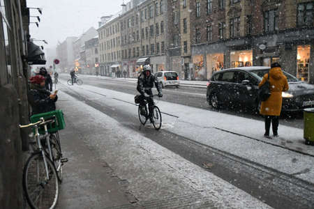Copenhagen/Denmark. 21.January 2019._  Heavy snow falls on monday in danish captial Copenhagen Denmark.
