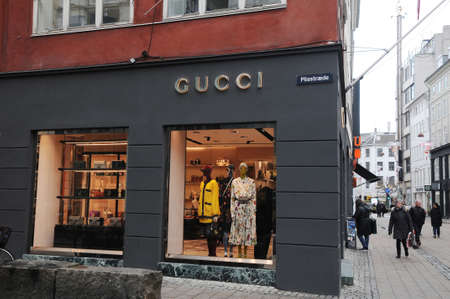 b73647d2505 Copenhagen Denmark. 8th.Febuary Shoppers pass by Gucci store on stroeget in  danish