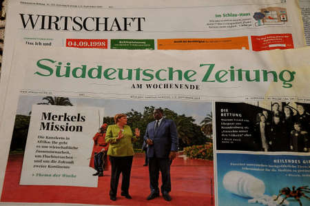 CopenhagenDenmark. 10th.Febuary 2019._ German  Süddeutsche Zeitung daily weekly issue  in Kastrup in danish capital .