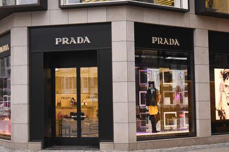 CopenhagenDenmark. 14 .Febuary 2019._Prada store on sroeget on kobmagergade and ostergade in danish capital Copenhagen Denmark. Editorial